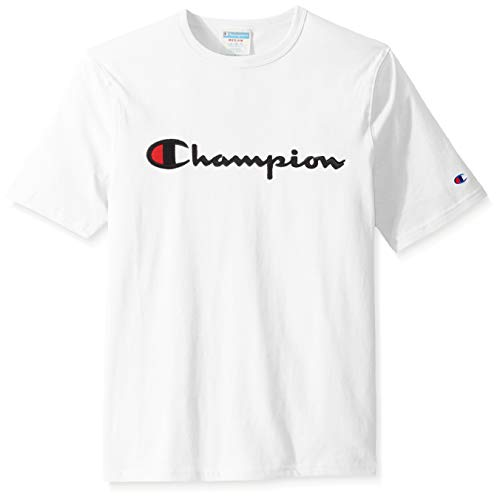 - Champion LIFE Men's Heritage Tee, White W/Embroidered Script, Small