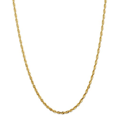 Mia Diamonds Solid 14k Yellow Gold 4mm D and C Extra-Light Rope - Dc Rope 4 Mm