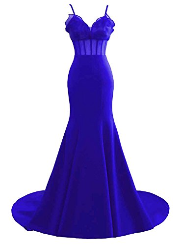 Gowns Royal Mermaid Party Women's Evening Sweertheart Dress Blue Ruffles Prom Changuan Wnxcwqq