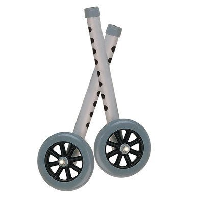 10128 - Walker Wheels with Two Sets of Rear Glides, for Use with Universal Walker, 5, Gray, 1 Pair