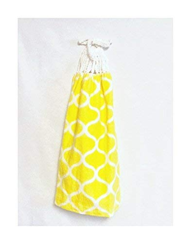 Kitchen Towel, Hand-crocheted topper, Yellow Kitchen Towel, Kitchen Hand Towel - 310