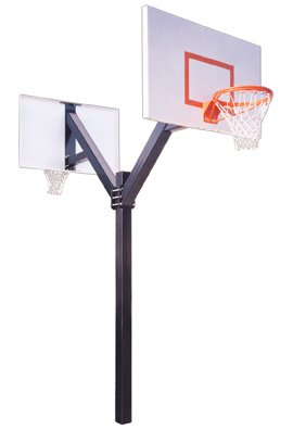 First Team Legend Jr. Extreme Dual Steel Double Sided In Ground Double Sided Fixed Height Basketball System44; Navy Blue by First Team
