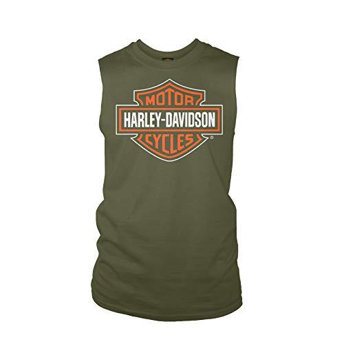 Iconic Muscle Tee - Harley-Davidson Military - Men's Military Green Sleeveless Graphic Tee - Yokosuka   Dashing - XX-Large