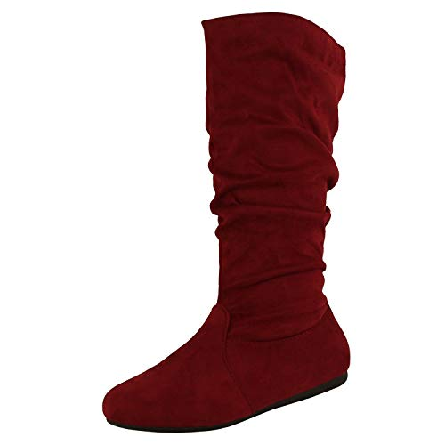 TOP Moda Women's Round Toe Slouchy Boot with Buckle (7.5, Premium New Burgundy Faux Suede) ()