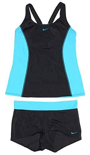 Nike Women's Tankini Athletic 2-Piece Swimsuit (Large, Black/Lt Aqua/Lt Aqua)