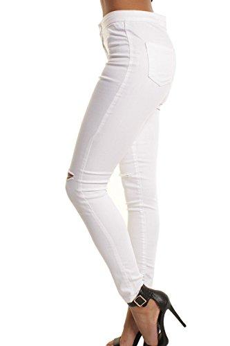 Jeans E Le Donne White Buchi In Pantaloni Per Zonsaoja Denim Elasticizzati Strappati XBOTq