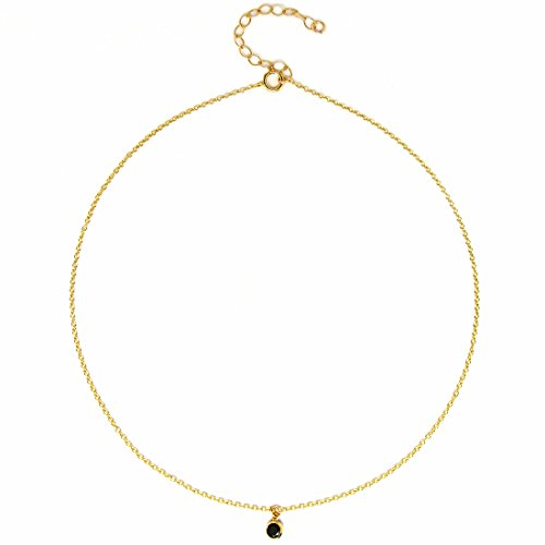 Choker Necklace for Women, Dainty 14K Gold Filled Fine Chain, Black CZ Drop, Made in USA (Black CZ Drop Choker)