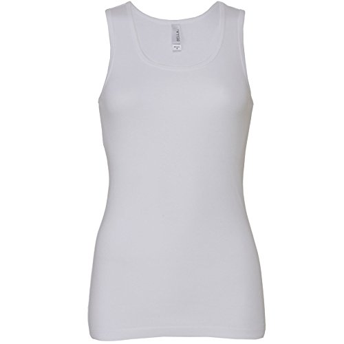 Bella+Canvas-Womens-Baby rib tank top Vest-Wide straps. Side-seamed. Slim fit-