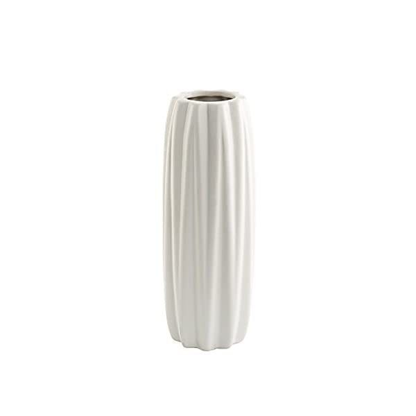 White Handcrafted Ceramic Decorative Long Vase Thyme for Living Room