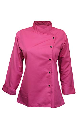 Long Sleeves Women's Ladies Chef's Coat Jackets By Chef's Apparels (Pink, XS (To Fit Bust 32-33))