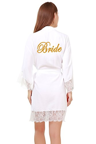 GoldOath Women's Pure Color Cotton Short Kimono Robes with Gold Glitter for Bridesmaid and Bride