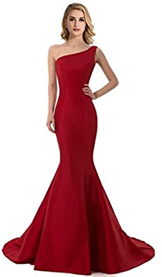 DLFASHION Women's One-shoulder Mermaid Satin Evening Prom Dress
