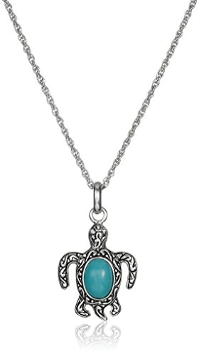 Sterling Silver Stabilized Turquoise Oxidized Inlay Turtle Pendant Necklace, (Turquoise Turtle)