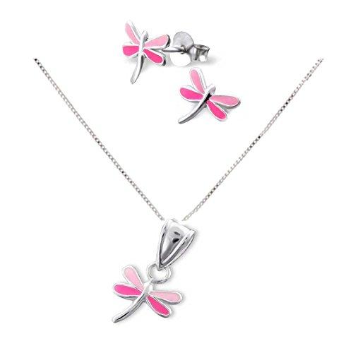 SL Silver - Conjunto de plata cadena 925colgante y pendientes infantiles de mariposa en caja de regalo