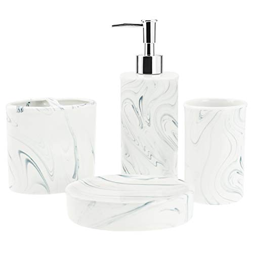 (4-Piece Ceramic Bathroom Accessories Set, Complete Marble Style Bathroom Ensemble Sets for Bath Decor Includes Soap Dispenser Pump, Toothbrush Holder, Tumbler, Soap Dish, Ideas Home Gift (Grey))