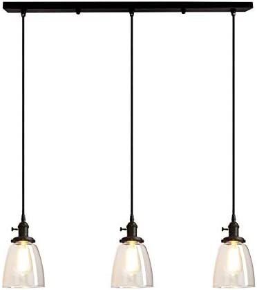 Pathson Industrial 3 Light Pendant Lighting Kitchen Island Hanging Lamps With Oval Clear Glass Shade Chandelier Ceiling Light Fixture Black Amazon Com