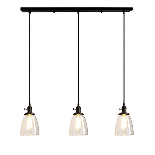 (Pathson Industrial 3-Light Pendant Lighting Kitchen Island Hanging Lamps with Oval Clear Glass Shade Chandelier Ceiling Light Fixture (Black))