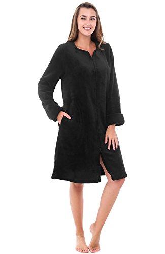 Alexander Del Rossa Womens Fleece Robe, Mid-Length Zip-Front Bathrobe, Medium Black (A0309BLKMD) (Fleece Bathrobe Zipper)