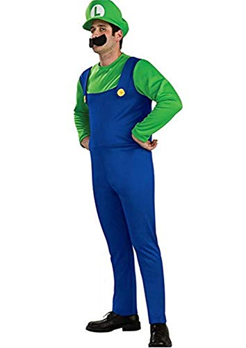 Super Mario Costume Luigi Brothers Deluxe Kids Cosplay Mens Adult Dress Up Party Costume Adult Green Small for $<!--$14.99-->