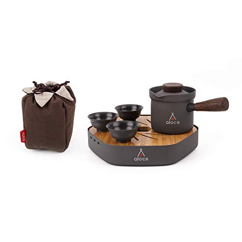 Alocs Camping and Travelling Tea Set,Portable Kung Fu Tea Sets, Chinese/Japanese Teacups Set Gift for Adult, Hard Anodic Alumina Alloy Tea Set Come with Canvas Carry Bag (Set Tea Unbreakable)
