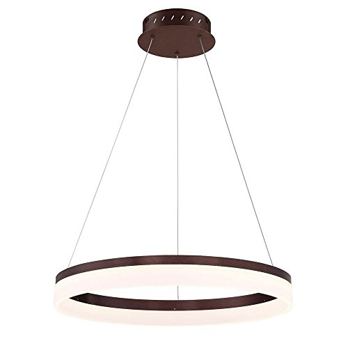(Eurofase Minuta Frosted LED Halo Chandelier, Bronze Aluminum Finish, 23.25 Inches in Diameter-Model 31777-025)