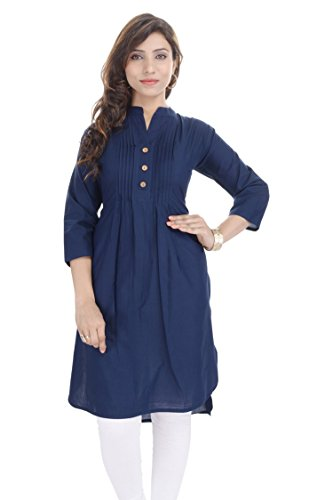 Chichi Women's Casual Printed Cotton Kurti Pink(Women's Day Special),M,Navy blue by CHI