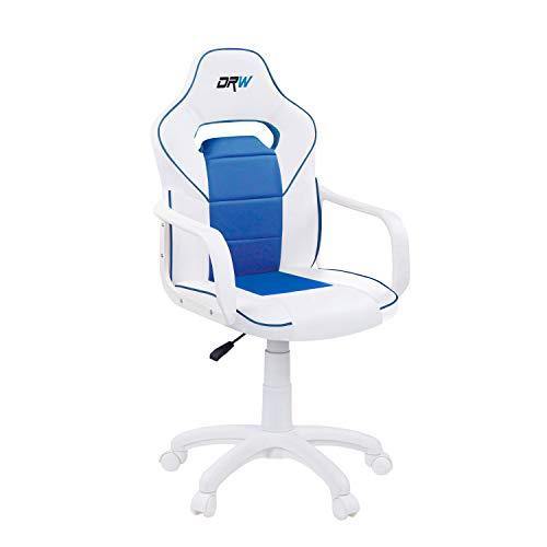 Adec - DRW, Silla de Escritorio, Estudio o Despacho, Sillon Gaming Acabado en Color Blanco y Azul, Medidas: 60 cm (Ancho) x 60 cm (Fondo) x 98-108 cm (Alto)