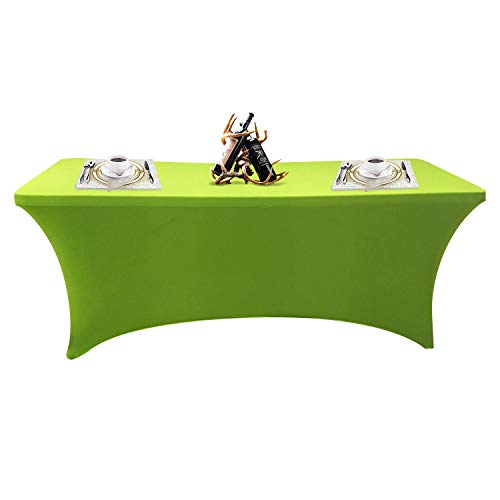 SEPARO 4\6\8FT Stretch Tablecloth Rectangular Spandex Table Cover for Outdoor Party DJ Tradeshows Banquet Vendors Weddings Celebrations, etc (Green, 1PC 6FT)