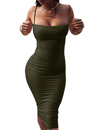 (GOBLES Women's Sexy Spaghetti Strap Sleeveless Bodycon Midi Club Dress Olive)