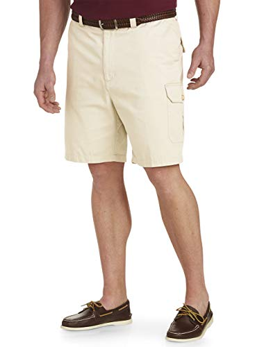 Harbor Bay by DXL Big and Tall Continuous Comfort Twill Cargo Shorts, Stone 62 R