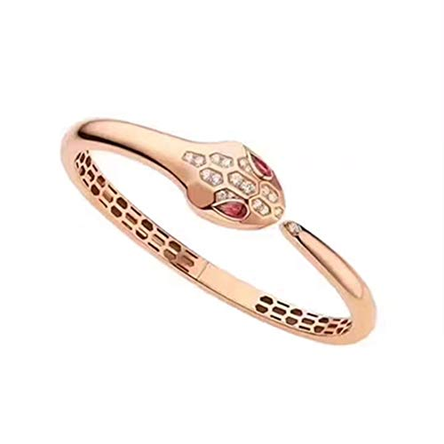 Serpenti Snake Bvlgari Style 18k Solid Rose Gold Round Natural Diamond Ruby Women Cuff Bracelet Engagement Wedding Bridal Love Anniversary Party Jewelry All Wrist Size Available