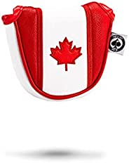 Pins & Aces Canada Head Cover - Premium, Hand-Made Leather, Headcover - Maple Leaf Styled, Tour Quality Go