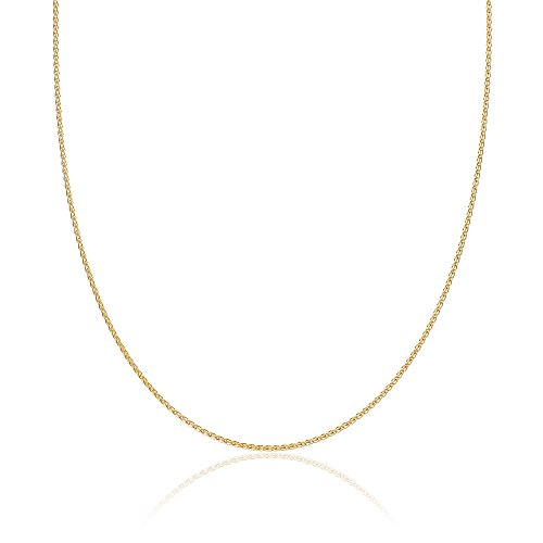 2mm thick 14k gold plated solid sterling silver 925 Italian SPIGA WHEAT chain necklace chocker bracelet anklet - 6'', 8'', 10'', 12'', 14'', 16'', 18'', 20'', 22'', 24'', 26'', 28'', 30'', 32'', 34'', 36'', 38'', 40'' by Cozmos Solid Chains