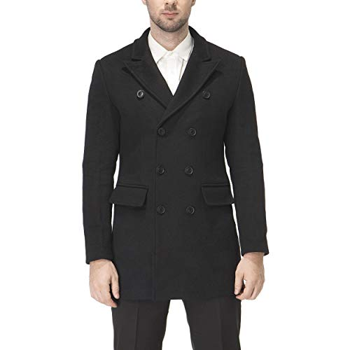 - HXW.GJQ Men's Classic Wool Blend Double Breasted Long Pea Coat (Black, Large)