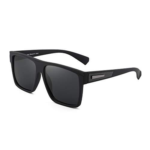 JIM HALO Polarized Sunglasses Men Women Retro Flat Top Square Driving Glasses