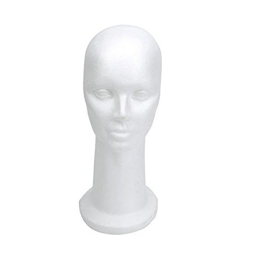"""15"""" Styrofoam Foam Mannequin Manikin Display Head Wig Hat Stand White Foams Sale"""