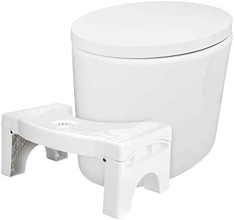Aitsite Folding Toilet Stool Upgraded Version Squatting Stool with Air Freshener Container Hemorrhoid Treatment Foldable Potty Stool for Bathroom