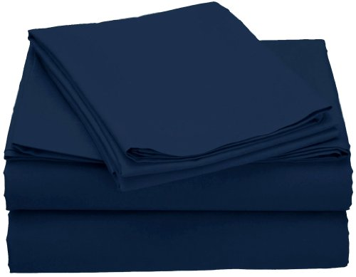 Clara Clark Grand 1200 Collection Solid Bed Sheet Set, Full, Navy Blue
