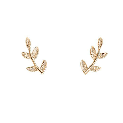 Humble Chic Tiny Leaf Studs - 925 Sterling Silver Delicate Branch Post Ear Stud Earrings, 14K Yellow Tiny Branch, Gold-Electroplated, ()