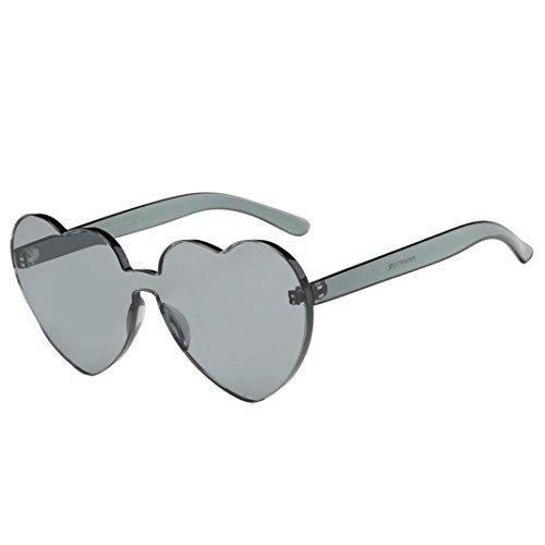 Perman Fashion Womens Sunglasses, Rimless Frame Heart-shaped Candy Colored Integrated UV Plastic - Sunglasses Soho
