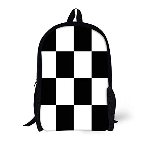 Battle Flag Square (Pinbeam Backpack Travel Daypack Abstract Chess Board Black and White Squares Checkered Waterproof School Bag)
