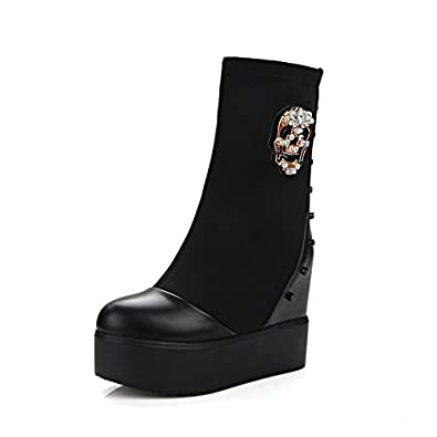 Women's Soft Material Round Closed Toe Two-Toned Low-top High-Heels Boots