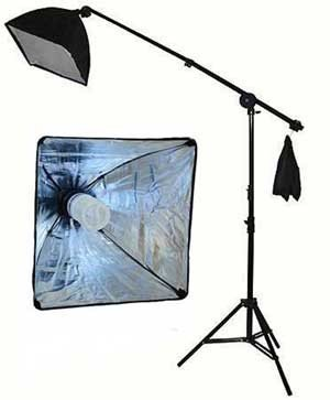 StudioFX 400W Continuous Lighting Hairlight Boom Stand Set, Weight Bag Kit/Includes 85watt = 400 Watt CFL Bulb/Weight Bag/Grip ARM by StudioFX
