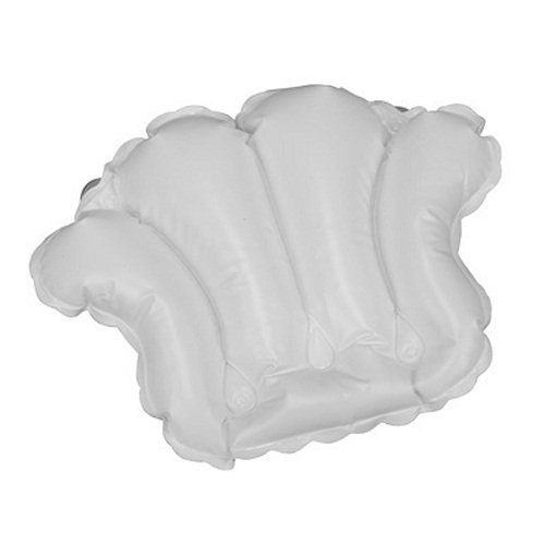 White Vinyl Shell-Shaped Spa Bath Pillow Crearive Bath 2701-WHITE