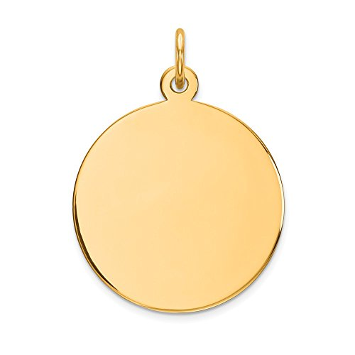- 14k Yellow Gold .013 Gauge Circular Engravable Disc Pendant Charm Necklace Round Plain Fine Jewelry Gifts For Women For Her