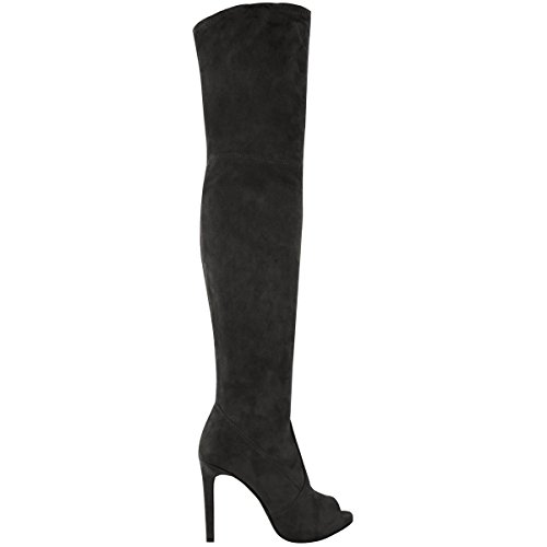 Fashion Thigh Platform High Black Over Boots Size Ladies Knee Womens High Sexy Heels The Suede Faux Thirsty New rnZxzwrq1