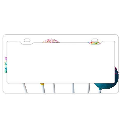 HHAT Food Candy Sprinkling Frosting License Plate Frame Theft-Proof Frames Stainless Steel Board Frames