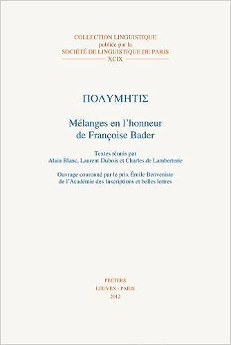 Lire Polymétis : Mélanges en l'honneur de Françoise Bader pdf, epub ebook