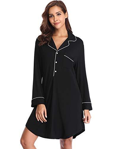 Lusofie Nightgowns for Women Boyfriend Style Sleepshirt Lapel Collar Button-up Sleepwear (Black,S)