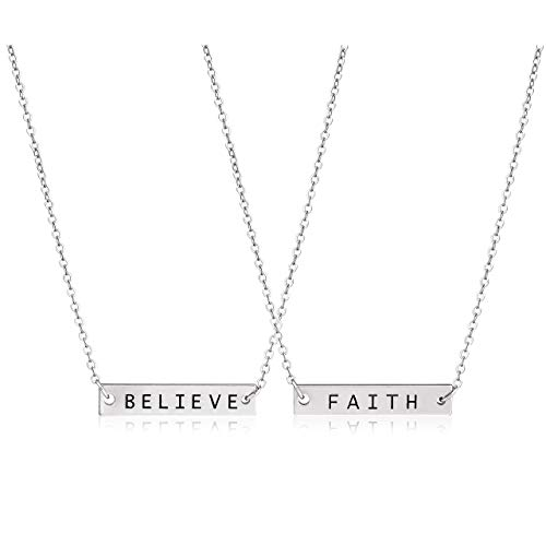 CEALXHENY 3PC Layered Bar Pendant Necklaces Boho Stick Bar Choker Necklace Minimalist Y Necklaces for Women Girls (H 2PC Silver)